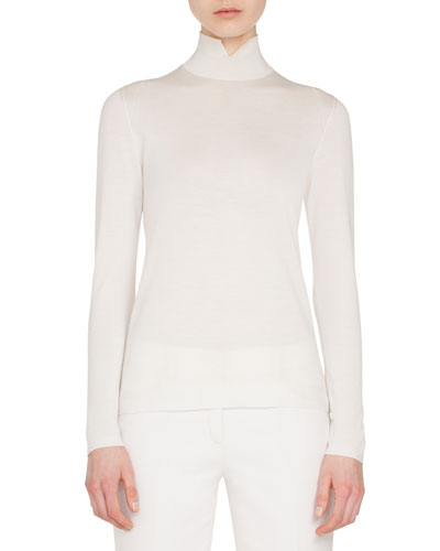 Slit Mock-Neck Long-Sleeve Cashmere-Silk Knit Pullover Top