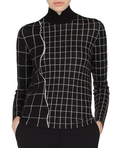 Mock-Neck Marble Tiles Jacquard Cashmere-Silk Pullover Sweater