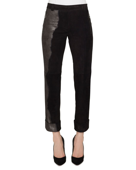 Akris Nappa Suede Patchwork Leather Conical-Leg Pants