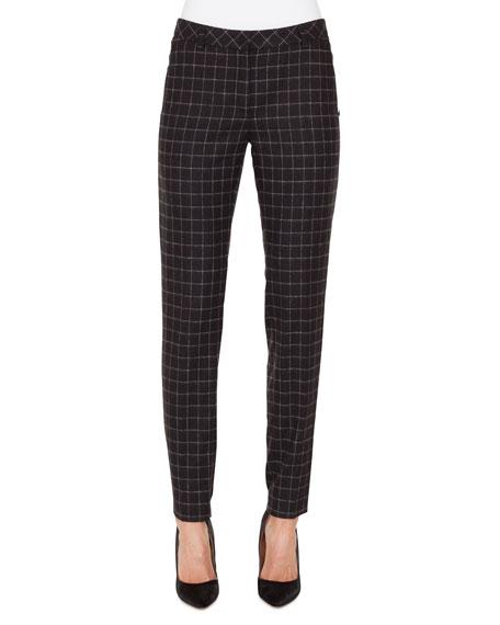 Akris Melvin Slim Marble-Tiles Flannel Wool Pants