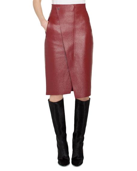 Akris Front-Wrap Pebble Deer Leather Pencil Skirt