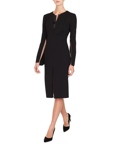 Zip-Sleeve Slit-Front A-Line Wool Dress w/ Leather Inset