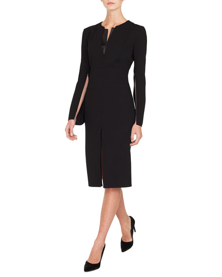Akris Zip-Sleeve Slit-Front A-Line Wool Dress w/ Leather
