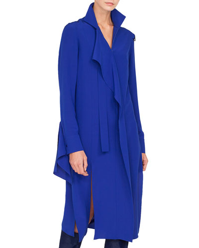 Stand-Collar Asymmetric Ruffle Front Silk Crepe Dress w/ Slit