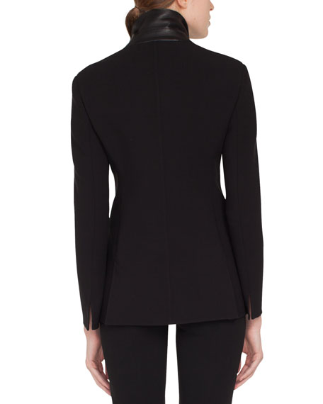 Scott Double-Breasted Stretch-Wool Jacket w/ Leather Trim