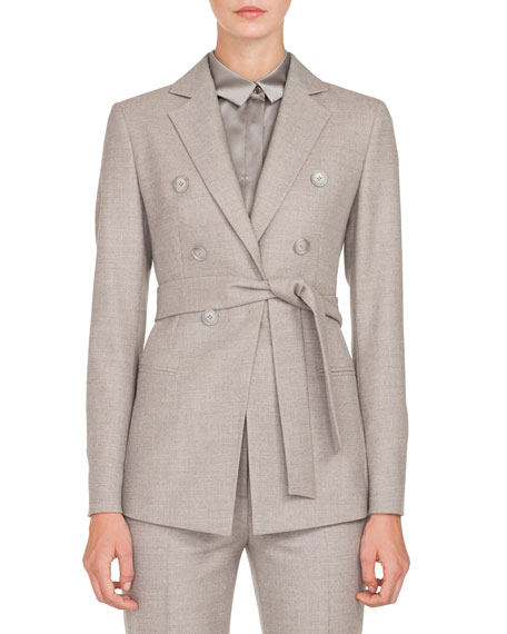 Akris Single-Breasted One-Snap Self-Belt Flannel Stretch-Wool Jacket