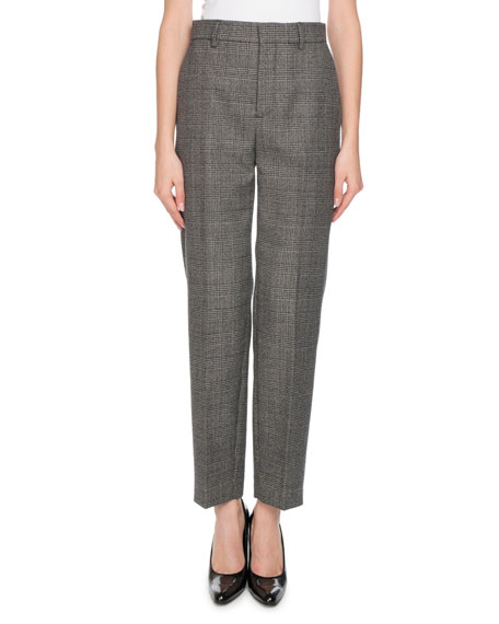 Houndstooth-Weave Wool Carrot-Leg Trousers - Black Size 36 Fr