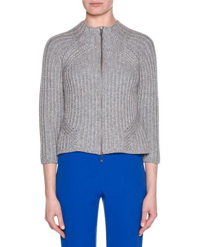 Zip-Front Long-Sleeve Ribbed Wool-Blend Cardigan Jacket