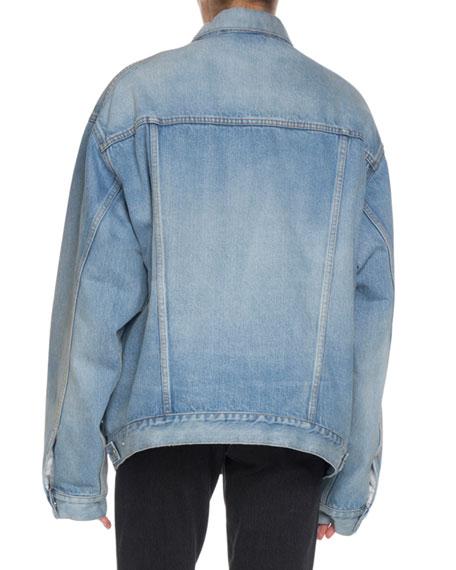 Balenciaga Denim Twill Oversized Jacket W Animal Print