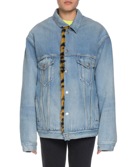 Balenciaga Denim Twill Oversized Jacket w/ Animal-Print Faux-Fur