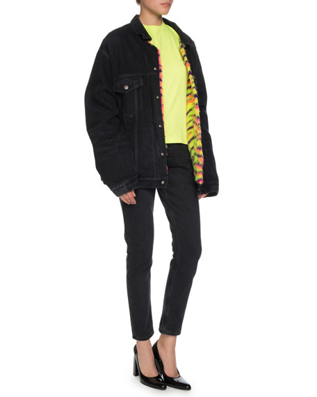 Japanese Black Denim Jacket w/ Neon Animal-Print Faux-Fur Lining