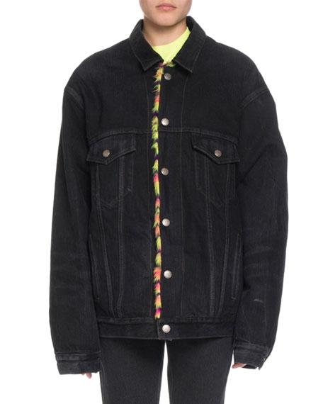 Balenciaga Japanese Black Denim Jacket w/ Neon Animal-Print