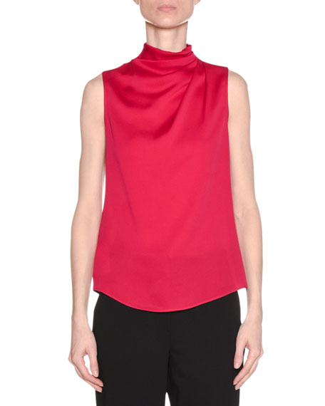 Giorgio Armani Ruched-Neck Sleeveless Silk Shell Top