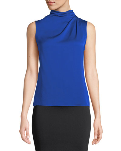 Funnel-Neck Sleeveless Silk Blouse, Bright Blue