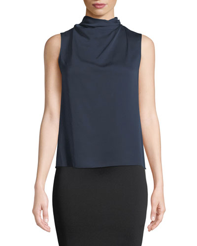 Funnel-Neck Sleeveless Silk Blouse