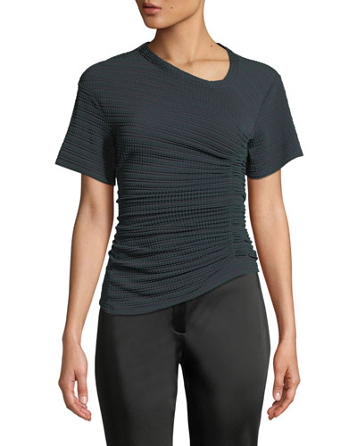 Oval-Neck Short-Sleeve Asymmetric-Ruched Jersey Top