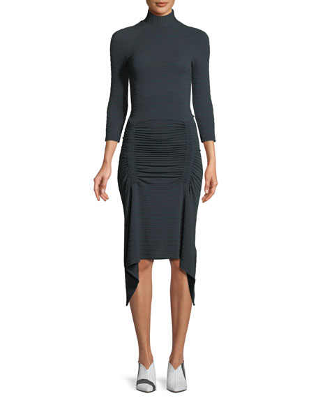 ATLEIN TURTLENECK 3/4-SLEEVE FITTED RUCHED JERSEY DRESS W/ DRAPE HEM