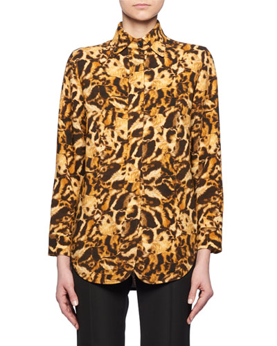 Long-Sleeve Button-Front Leopard-Print Blouse