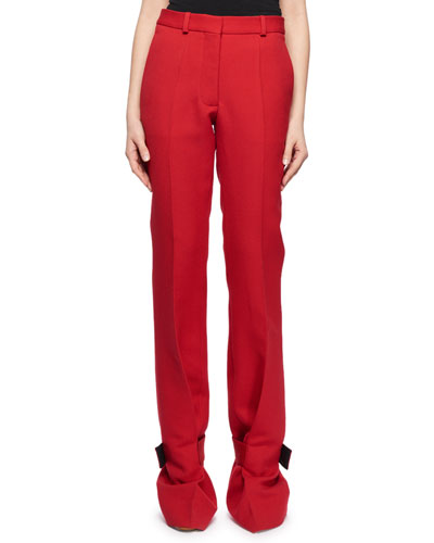 Straight-Leg Virgin-Wool Pants w/ Cuff Detail