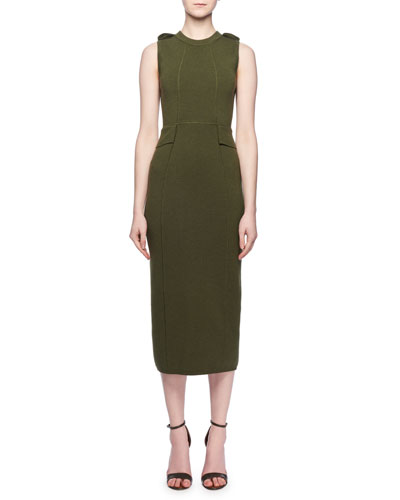 Crewneck Sleeveless Fitted Wool Knit Midi Dress