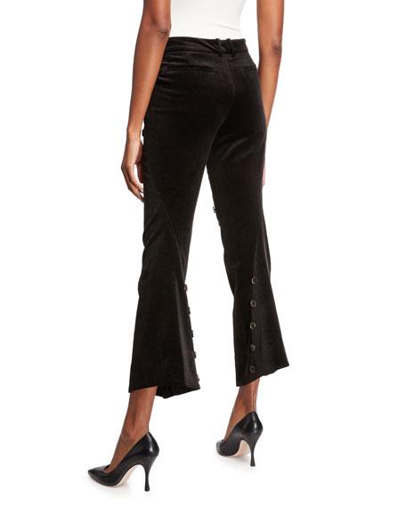 Herringbone Asymmetric-Button Cropped Flare Pants