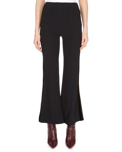 High-Waist Flare-Leg Cropped Stretch-Viscose Pants w/ Velvet-Stripe
