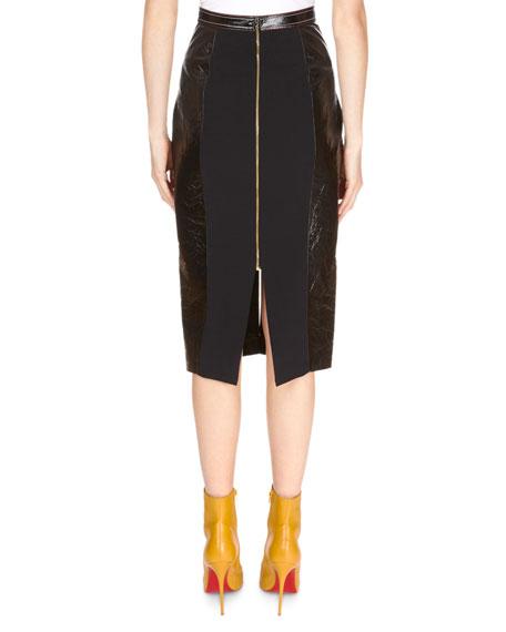 Patent Foil Leather Front-Slit Pencil Skirt