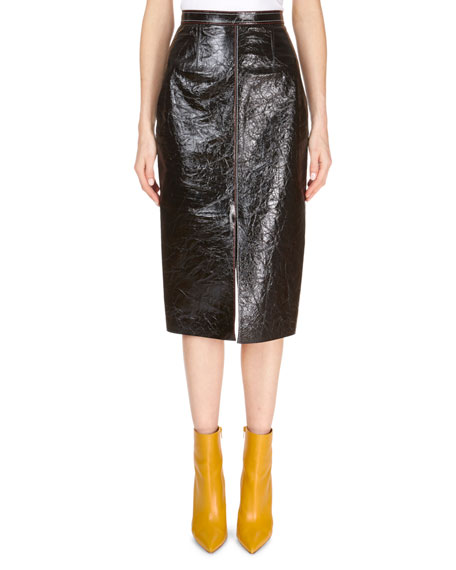 Patent Foil Leather Front-Slit Pencil Skirt