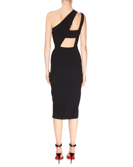 Cutout One-Shoulder Asymmetric Drape Fitted Cocktail Dress