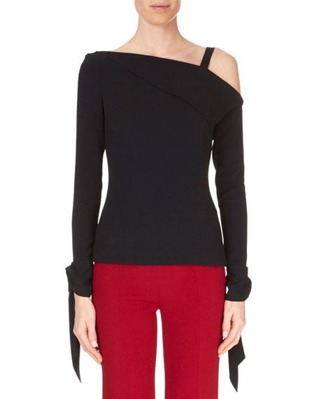 One-Shoulder Fold-Over Single-Strap Long-Sleeve Top, Black
