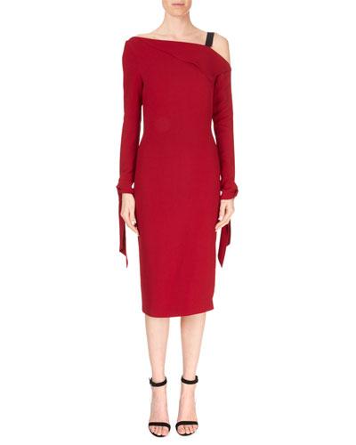 One-Shoulder Foldover Single-Strap Tie-Cuff Stretch-Viscose Cocktail Dress