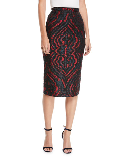 Norley Baroque Fil Coupe Pencil Skirt