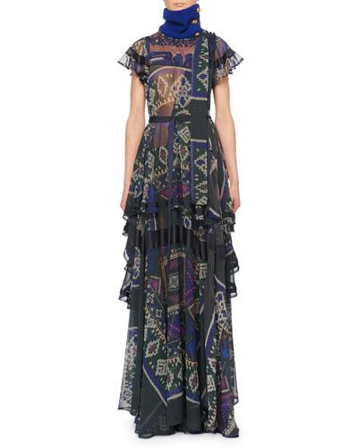 Cap-Sleeve Printed Sheer Tiered Long Dress