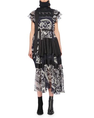 Cap-Sleeve Printed Sheer Tiered Midi Dress