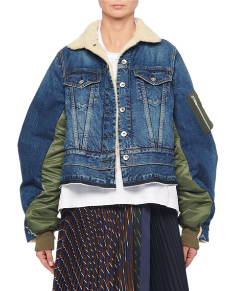 Button-Front Nylon-Back Faux-Shearling Lined Denim Jacket