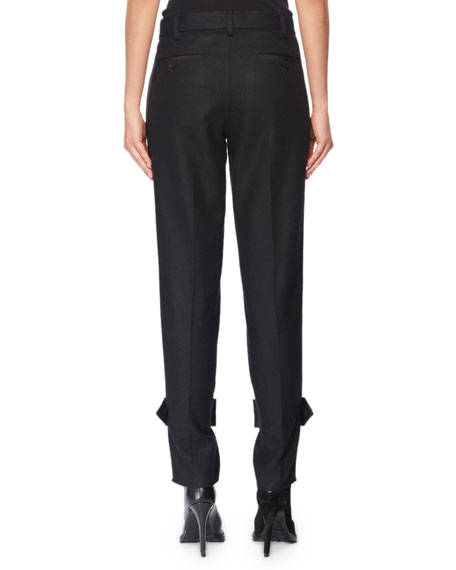 Tab-Cuff Tailored Wool Pants