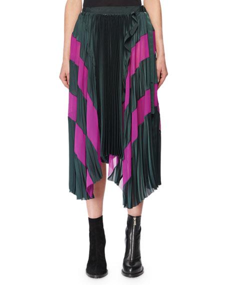Pleated Satin Wrap Skirt w/ Chiffon Combo