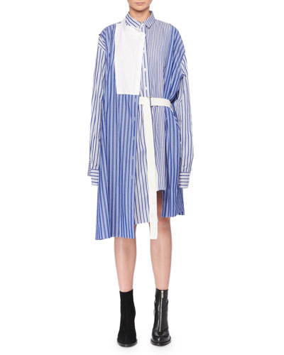Striped Mixed Shirting Belted Wrap Dress