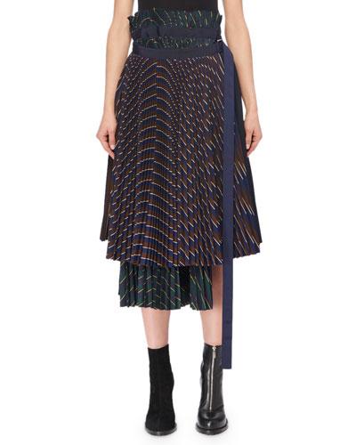 Mixed Pinstripe Pleated Midi Wrap Skirt