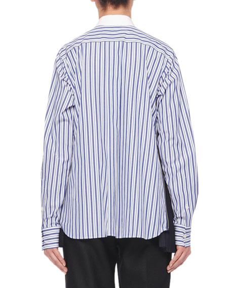 Long-Sleeve Button-Front Bib Striped Shirt
