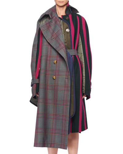 Double-Breasted Glen-Check Wool Nylon Striped Long Coat