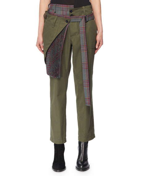 SACAI Pleated Wrap Skirt Glen-Check Combo Skinny-Leg Cotton Pants in Green
