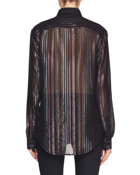 Long-Sleeve Multicolor Metallic-Striped Blouse