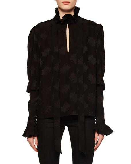 Ruffled Silk Jacquard Blouse - Black Size 38 Fr