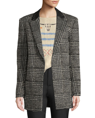 Beaded Glen-Plaid Wool Coat
