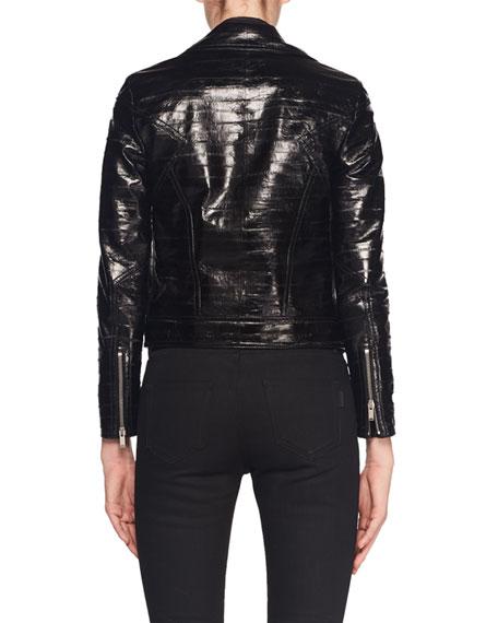 Zip-Front Eel-Skin Biker Jacket