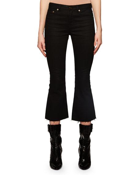 03f28c328bc Flared-Leg Cropped Jeans w/ Raw Hem