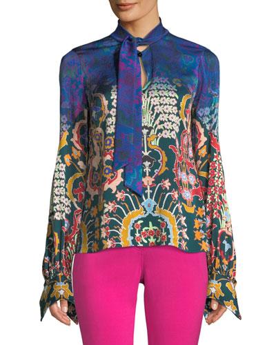 Tie-Neck Long-Sleeve Multi-Print Silk Blouse