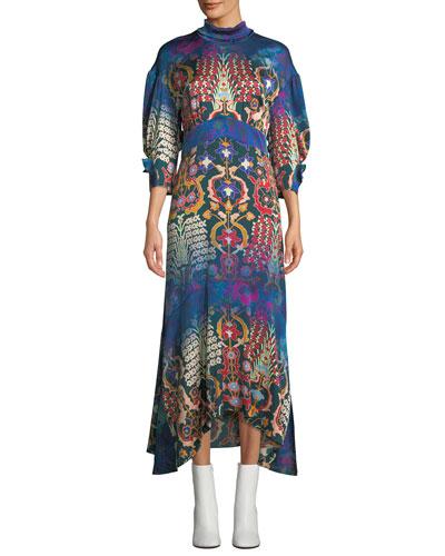 Mock-Neck 3/4 Pouf-Sleeve Mixed-Print Long Silk Dress