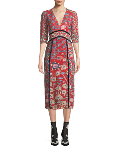 V-Neck Elbow-Sleeve Floral-Print Fil Coupe A-Line Midi Dress